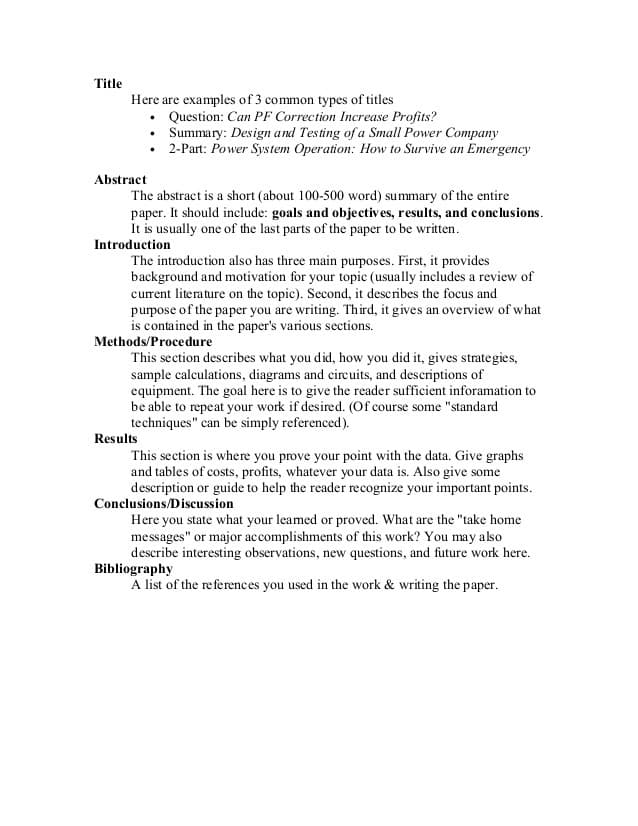 An examples showing parts of a research paper