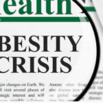 A newspaper talking about obesity crisis