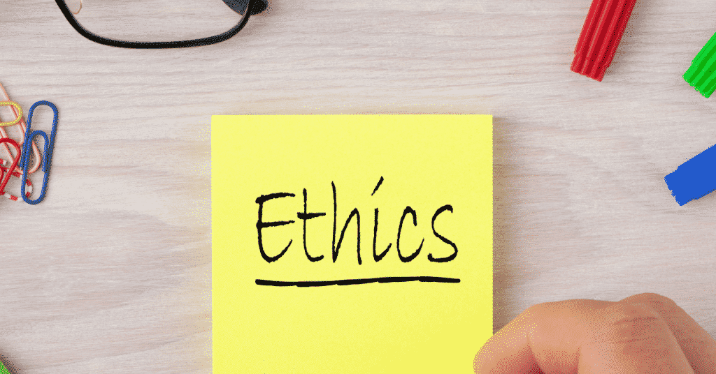 A yellow sticky note written ethics;Ethical Research Paper Topics